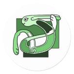 Celtic Knotwork Design - Green Rabbit Classic Round Sticker