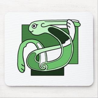 Celtic Knotwork Design - Green Rabbit Mouse Pad