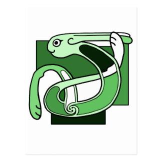 Celtic Knotwork Design - Green Rabbit Postcard