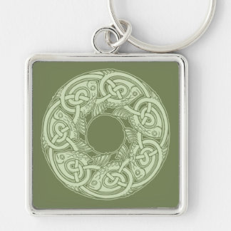 Celtic Knotwork Fish Design in Green Keychain