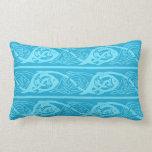 Celtic Knotwork Fish in Blue Lumbar Pillow