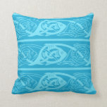 Celtic Knotwork Fish in Blue Throw Pillow