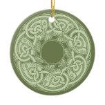 Celtic Knotwork Fish in Green Ceramic Ornament