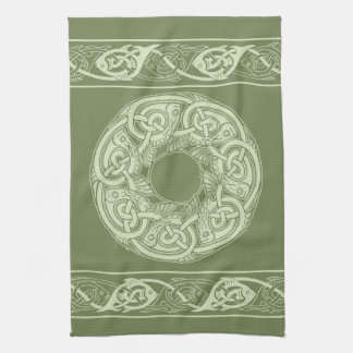 Celtic Knotwork Fish in Green Kitchen Towel