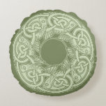 Celtic Knotwork Fish in Green Round Pillow