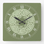 Celtic Knotwork Fish in Green Square Wall Clock