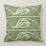 Celtic Knotwork Fish in Green Throw Pillow