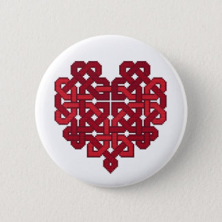 Celtic Knotwork Heart Badge Red Button