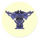 Celtic Knotwork Hound Stickers, White Classic Round Sticker