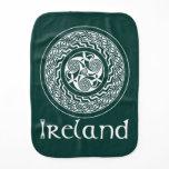 Celtic Knotwork Irish Medallion Pattern in Green Baby Burp Cloth