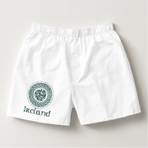Celtic Knotwork Irish Medallion Pattern in Green Boxers