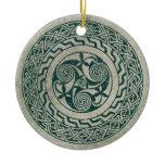 Celtic Knotwork Irish Medallion Pattern in Green Ceramic Ornament