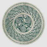 Celtic Knotwork Irish Medallion Pattern in Green Classic Round Sticker