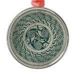Celtic Knotwork Irish Medallion Pattern in Green Metal Ornament