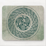 Celtic Knotwork Irish Medallion Pattern in Green Mouse Pad