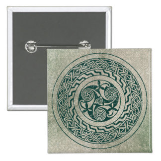 Celtic Knotwork Irish Medallion Pattern in Green Pinback Button