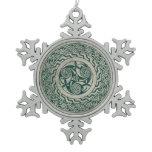 Celtic Knotwork Irish Medallion Pattern in Green Snowflake Pewter Christmas Ornament
