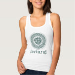 Celtic Knotwork Irish Medallion Pattern in Green Tank Top