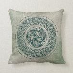 Celtic Knotwork Irish Medallion Pattern in Green Throw Pillow
