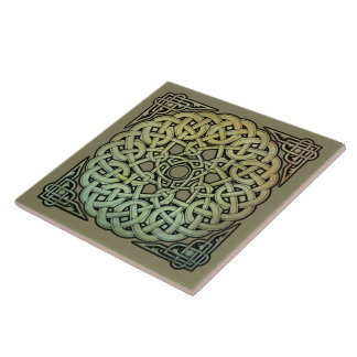 Celtic Knotwork Mandala Ceramic Tile