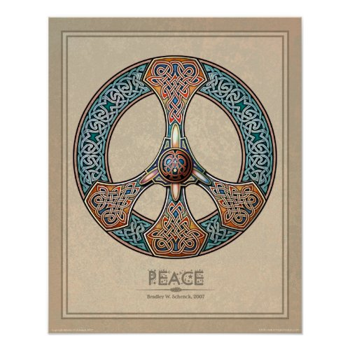 Celtic Knotwork Peace Sign poster (16x20