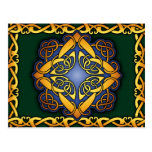 Celtic Knotwork Postcard: Blue Gold and Green Postcard