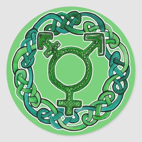 Celtic Knotwork Transgender Symbol Classic Round Sticker