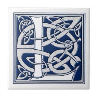 Celtic L Monogram Small Square Tile