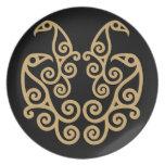 Celtic La Tene style art design of 4 birds Dinner Plate