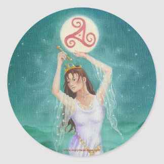 """""""Celtic Lady of the Lake"""" Classic Round Sticker"""