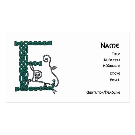 Celtic Letter E business cards