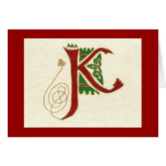 CELTIC LETTER K CARD
