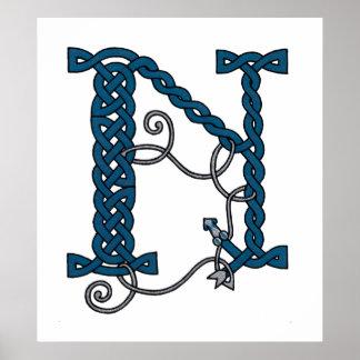 Celtic Letter N print