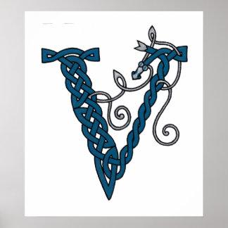 Celtic Letter V print