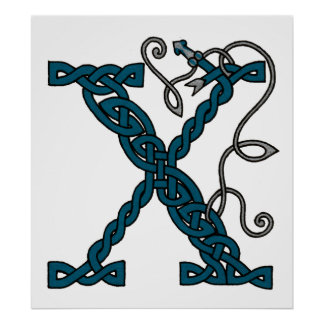 Celtic Letter X print