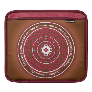 Celtic Lotus Mandala in Pink and Brown Sleeves For iPads