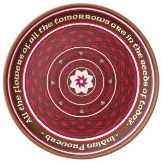 Celtic Lotus Mandala in Pink and Brown Porcelain Plate