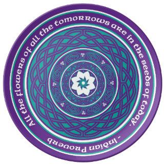 Celtic Lotus Mandala in Teal and Purple Dinner Plate