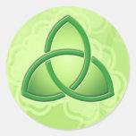 "Celtic Love knot and Shamrocks 1.5"" Round Sticker"