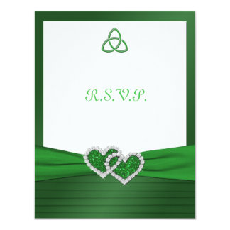 Celtic Love Knot in Emerald Green RSVP Card