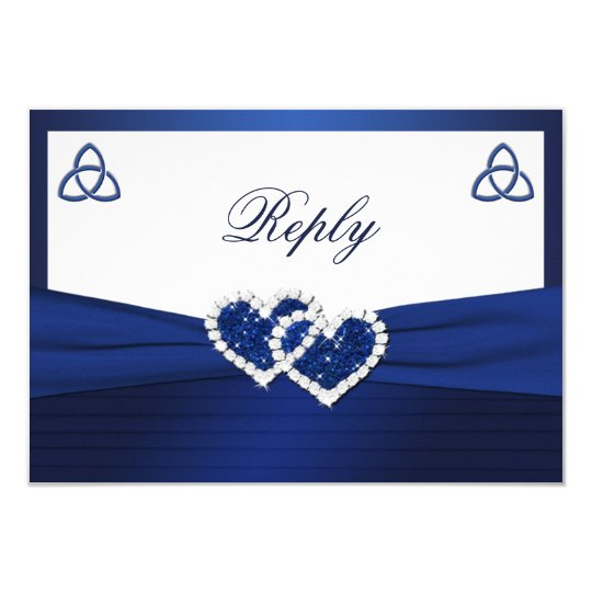 Celtic Love Knot in Sapphire Blue Reply Card