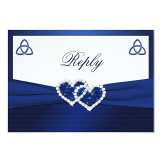 """Celtic Love Knot in Sapphire Blue Reply Card 3.5"""" X 5"""" Invitation Card"""