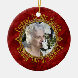 Celtic Love Knot Red Memorial Photo Christmas Ceramic Ornament