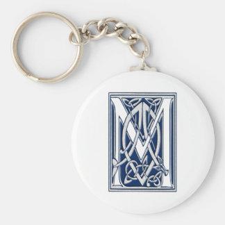Celtic M Monogram Basic Round Button Keychain