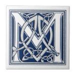 "Celtic M Monogram Ceramic Tile<br><div class=""desc"">A beautiful,  decorative embossed celtic letter illuminated with gray dragon heads on a velvety dark blue background.</div>"