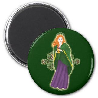 Celtic Magnets, Grail Maiden Design #2 2 Inch Round Magnet