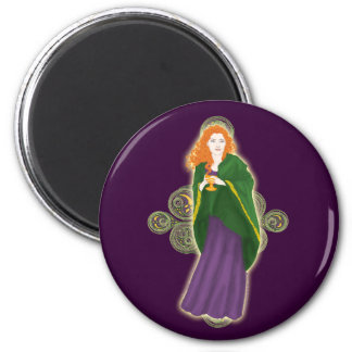 Celtic Magnets, Grail Maiden Design #3 2 Inch Round Magnet