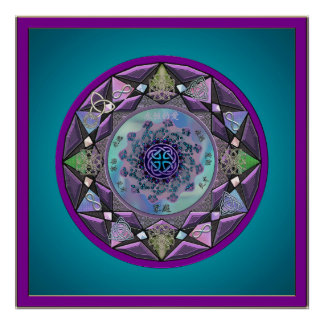 Celtic Mandala Framed in Cool Hues Poster