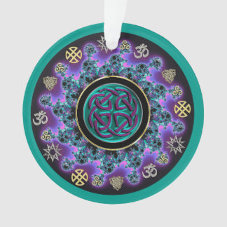 Celtic Mandala in Green with Mystical Symbols.