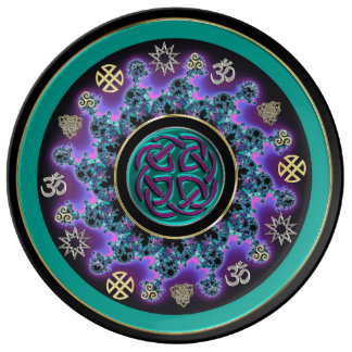 Celtic Mandala in Green with Mystical Symbols. Porcelain Plate
